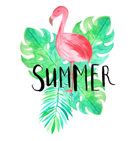 tropica: Summer hand lettering. Set of Watercolor hand painted tropica leaves and flamingoes composition with typography. Stock Photo