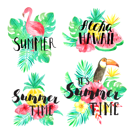 It's Summer time, Summer, Aloha Hawaii hand lettering. Set of Watercolor hand painted tropical flowers, leaves, fruits and birds compositions with typography. Reklamní fotografie
