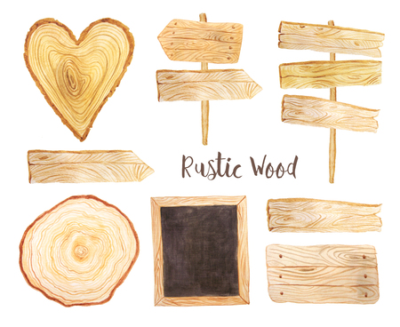 Hand painted Watercolor wooden tablets, signposts and planks in rustic style. Decorative wood banners perfect for card making, wedding invitation and DIY project Stock Photo