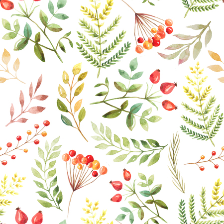 Seamless pattern with hand painted watercolor autumn leaves, branches and berries inspired by forest. Romantic floral background perfect for fabric textile, vintage paper or scrapbooking