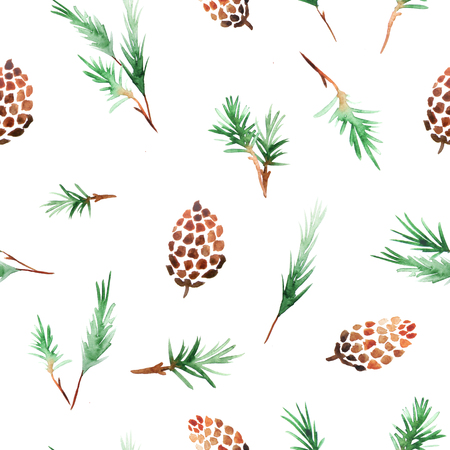 Seamless pattern with watercolor pine cones and branches. Hand painted green coniferous twig and pinecone. Decorative background ispired by autumn forest perfect for fabric textile and wallpaper