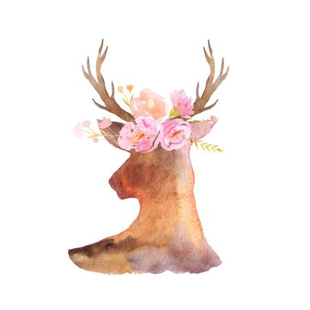 Acuarela cabeza de ciervo con astas, flores, hojas y hierbas en estilo rústico romántico. Composición chic boho perfecta para proyectos de diseño de bodas florales Foto de archivo - 84218518