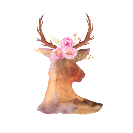 chic: Watercolor deer head with antlers, flowers, leaves and herbs  in romantic rustic style. Boho chic composicion perfect for floral wedding design projects