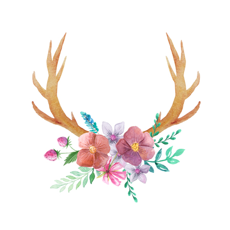 Set of hand painted watercolor flowers, leaves, antlers and berry in rustic style. Boho rustic composicion perfect for floral design projects Imagens