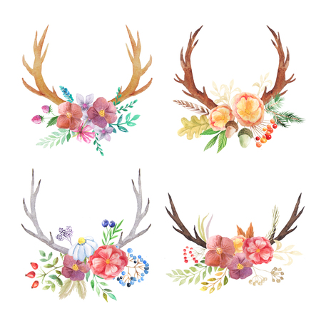 Set of hand painted watercolor flowers, leaves, antlers and berry in rustic style. Boho rustic composicion perfect for floral design projects Reklamní fotografie