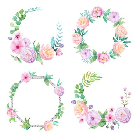Floral frame with hand painted watercolor flowers, leaves and branches inspired by summer garden. Decorative wreath pefect for card making, wedding invitation and DIY project