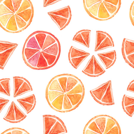 Seamless pattern with watercolor bright summer citrus fruits. Background with piece of orange and mandarin. Exotic fresh collection isolated on white background Stock Photo - 84507415