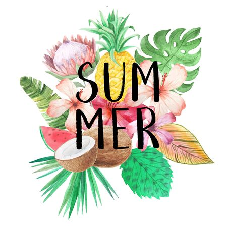 Summer lettering. Set of Watercolor tropical composition with flowers, leaves, watermelon and pineapple with handdrawn typography. Bright jungle bouquet perfect for hawaii party card making Foto de archivo - 133571466