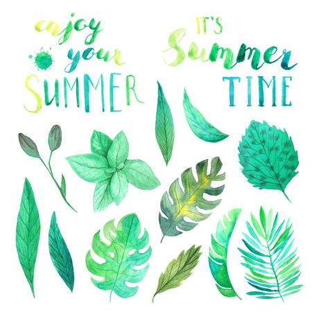 Enjoy Your Summer, Its Summer time lettering. Set of Watercolor tropical green leaves and branches with handdrawn typography. Bright jungle greenery perfect for summer party card making