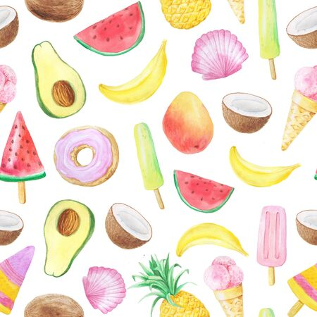 Seamless pattern with isolated watercolor coconut, banana, watermelon, icecream and pineapples. Hand painted exotic fruits and dessert. Summer bright background perfect for fabric textile