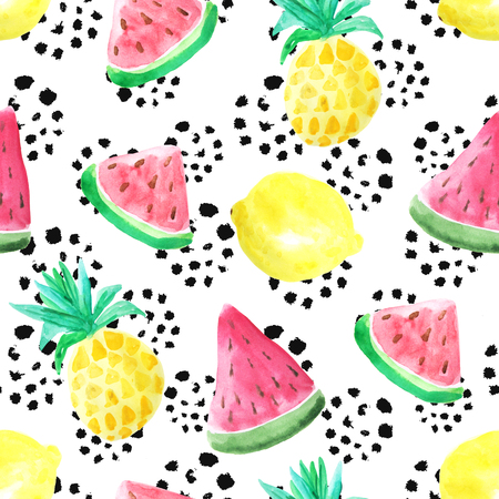 Seamless pattern with watercolor pineapple, lemon and watermelon in bright colors inspired by summer vacation.