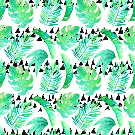 Seamless pattern with watercolor green tropical leaves. Hand painted exotic plants and ink brush stroke. Foto de archivo - 133571468
