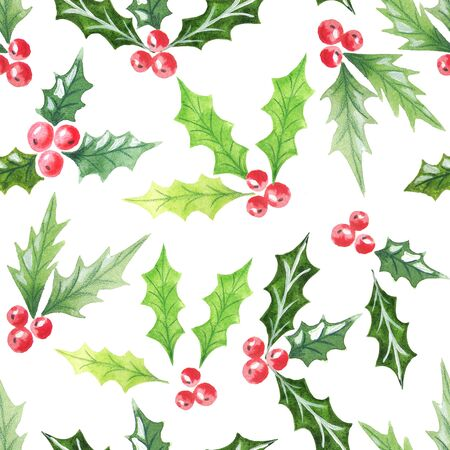 Watercolor seamless pattern with hand painted cranberries on white backdrop. Hand draw texture. Beautiful background for textile, wallpaper, wrapping paper Фото со стока
