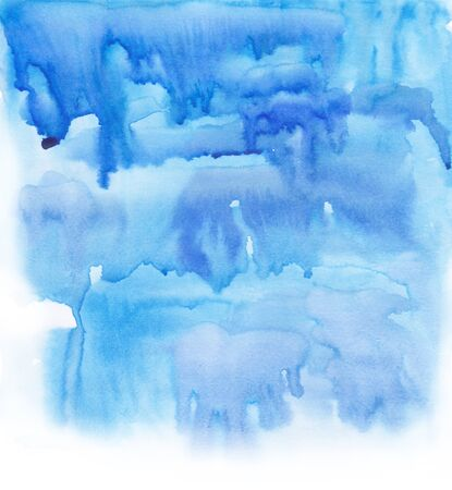 Abstract Hand painted watercolor background in bright blue color.Template for artistic design. Watercolor wash. 写真素材
