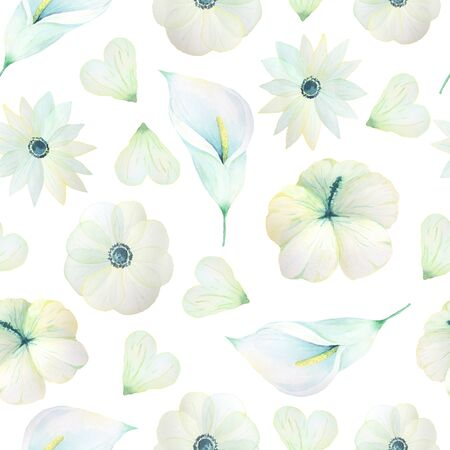 Seamless pattern with hand painted watercolor Calla lily and anemones in light white color inspired by garden plants. Romantic floral background perfect for fabric textile, vintage paper or scrapbooking