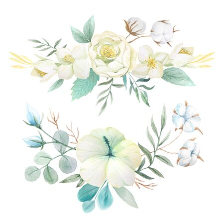 Conjunto de flores, hojas y ramas acuarelas pintadas a mano. Objetos aislados sobre un fondo blanco. Imágenes prediseñadas de flores blancas perfectas para hacer tarjetas y proyectos de bricolaje Foto de archivo