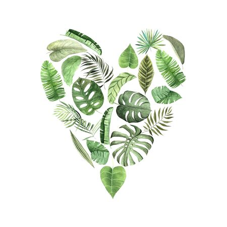 Watercolor hand painted tropical leaves and plants in heart form. Green jungle foliage composition perfect for summer wedding invitation and party card making
