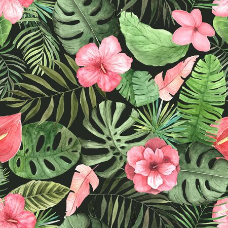 Seamless pattern with colorful watercolor vintage tropical flowers, leaves and plants. Hand painted jungle paradise background perfect for textile and scrapbooking