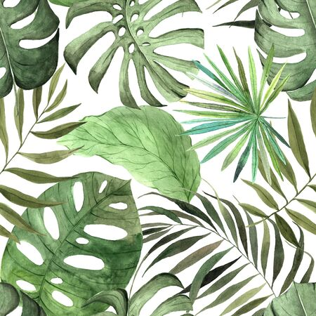 Seamless pattern with watercolor green tropical leaves and plants. Hand painted jungle greenery background perfect for fabric textile or wedding decor