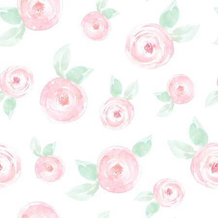 Seamless pattern with hand painted watercolor roses and leaves in pastel colors inspired by garden plants. Romantic floral background perfect for fabric textile, vintage paper or scrapbooking