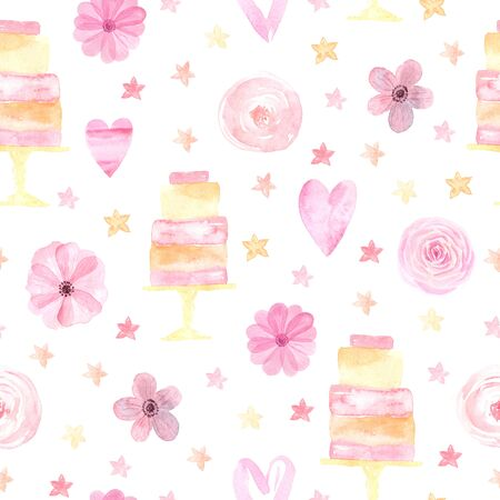 Seamless pattern with hand painted watercolor roses, hearts, stars and wedding cakes in pastel pink color. Romantic floral background perfect for fabric textile, vintage paper or scrapbooking
