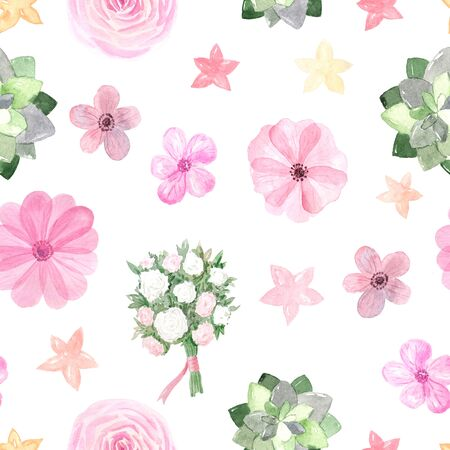 Seamless pattern with hand painted watercolor roses and anemones in pastel pink color inspired by garden plants. Romantic floral background perfect for fabric textile, vintage paper or scrapbooking