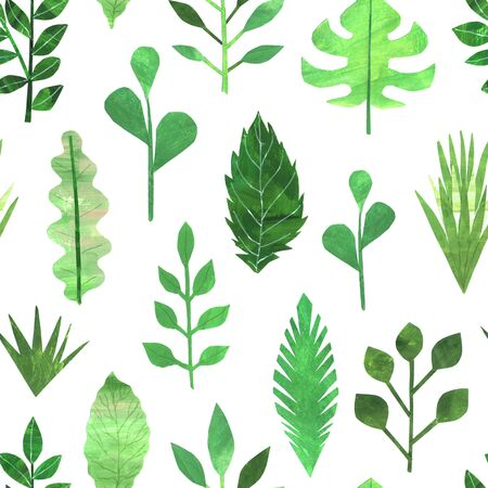 Seamless pattern with collage hand painted green spring leaves foliage inspired by garden greenery and plats. Paper foliage background perfect for fabric textile or wallpaper Фото со стока