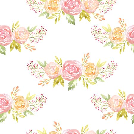 Seamless pattern with hand painted watercolor flowers and leaves in pastel colors inspired by garden plants. Romantic floral background perfect for fabric textile, vintage paper or scrapbooking