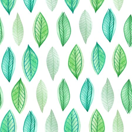 Seamless pattern with watercolor hand painted green spring leaves foliage inspired by garden greenery and plats. Hand painted  green foliage background perfect for fabric textile or wallpaper