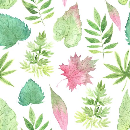 Seamless pattern with watercolor hand painted green and red spring leaves foliage inspired by garden greenery and plats. Decorative foliage background perfect for fabric textile or wallpaper