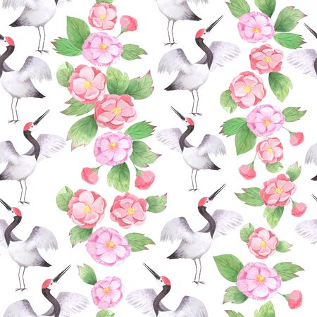 Watercolor oriental seamless pattern with Japanese crane. Asian natural background with Red Heads cranes, pink peones flowers and leaves. Floral print can be used for wallpaper, website background, textile printing 스톡 콘텐츠