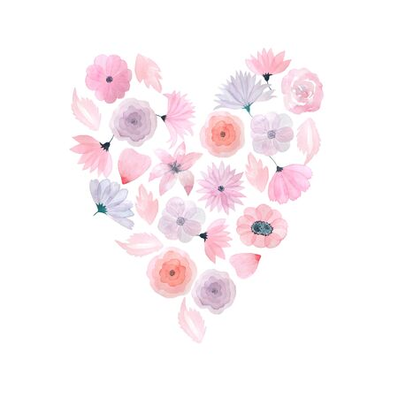 Pink heart with hand painted watercolor flowers in romantic fashion style. Decorative floral background pefect for card making, wedding invitation and DIY project Imagens