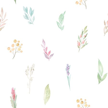 Seamless pattern with watercolor hand painted spring leaves and branches inspired by garden greenery and plats. Hand painted  green foliage background perfect for fabric textile or wallpaper