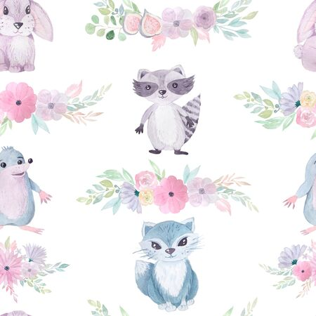 Seamless pattern with hand painted watercolor hare, racoon, cat animals, flower bouquets in pastel colors. Romantic floral background perfect for fabric textile, vintage paper or scrapbooking Фото со стока