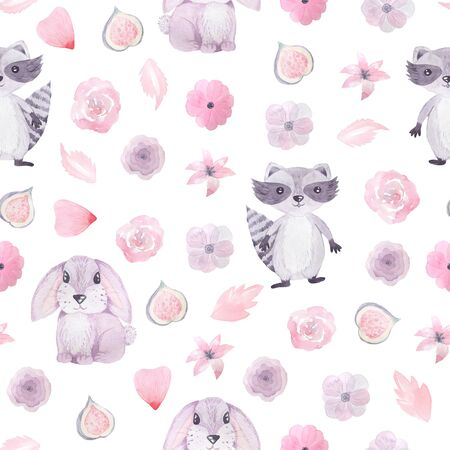 Seamless pattern with hand painted watercolor hare, racoon animals, roses and anemones in pastel pink color inspired by garden plants. Romantic floral background perfect for fabric textile, vintage paper or scrapbooking