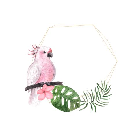Watercolor tropic geometric frame with flowers, leaves and parrot. Bright jungle exotic wreath perfect for summer wedding invitation and party card making Banco de Imagens - 129625040