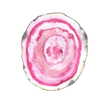 Bright hand painted watercolor agate slice in light pink colos. Romantic decorative isolated luxury mineral perfect for gretting gift paper, fabric print, wedding decor or card making