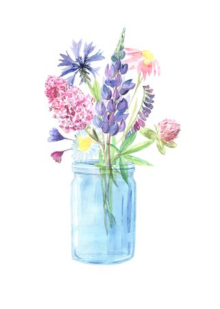 Watercolor painted wildflowers, field plants, garden herbs, delicate leaves and branches, wild meadow flowers and grass isolated on white. Modern watercolor style floral bouquet in glass jar Stock Photo