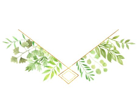 Watercolor floral geometric frame with delicate leaves, branches in green colors. Bright modern trendy wreath perfect for summer wedding invitation and card making