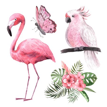 Watercolor hand painted tropical flowers, leaves, flamingo and parrot composition. Bright jungle exotic bouqoet perfect for summer wedding invitation and party card making