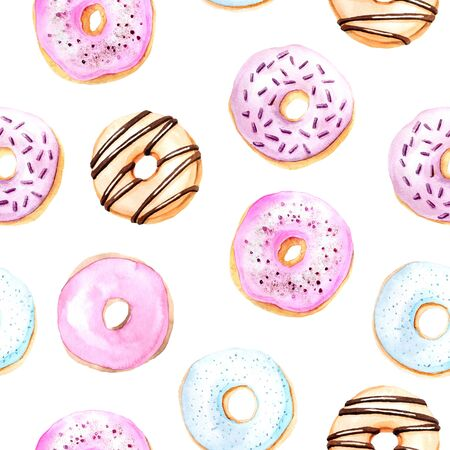 Seamless pattern with watercolor sweet and tasty donuts glazed with cream and sprinkling confectionery. Background with delicious dessert can be used for fabric textile or wallpaper