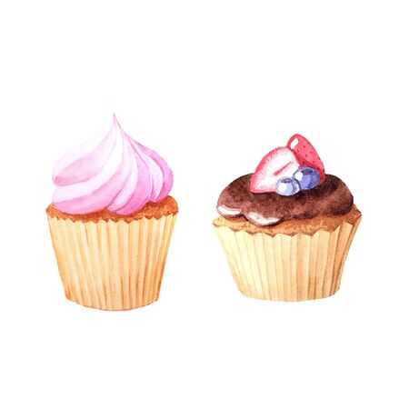 Watercolor hand painted sweet and tasty cupcakes with chocolate topping and fruits.  Backery delicious dessert isolated objects perfect for cafe menu design and scrapbooking