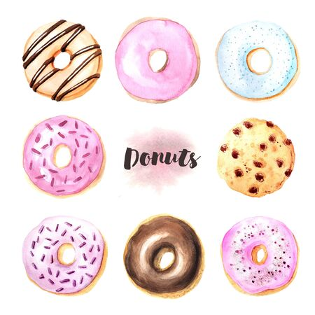 Watercolor hand painted sweet and tasty donuts glazed with cream and sprinkling confectionery.  Delicious dessert can be used for card, postcard, wedding card, invitation, birthday card, menu, recipe Banco de Imagens