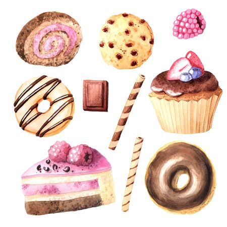 Watercolor hand painted sweet and tasty cupcake, donut, cakes with chocolate topping and fruits.  Backery delicious dessert isolated objects perfect for cafe menu design and scrapbooking