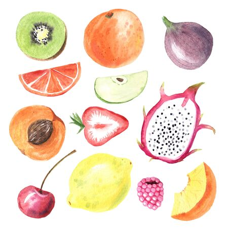 Set of hand painted watercolor summer fruits. Orange, fig, dragon fruit, lemon, kiwi, cherry and ather berry. Exotic fresh collection isolated on white background perfect for diet menu and scrapbook