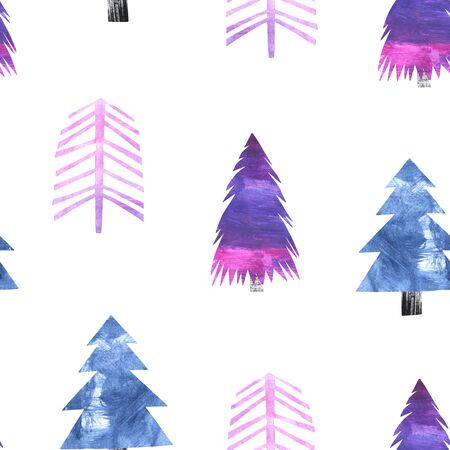 Seamless pattern with bright paper collage Christmas Tree. Decorative background with hand painted cutout fores tree in violet colors. Winter holiday design perfect for wallpaper and scrapbooking