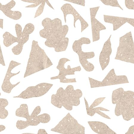 Seamless pattern with abstract collage of pasted craft paper, cut out floral elements, different forms and shapes. Raster illustration of a modern style. Artistic funky background for scrapbooking