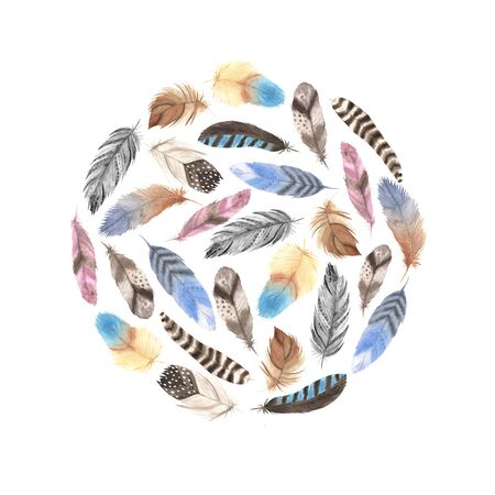 Round form. Card template with isolated watercolor feathers. Hand painted  colorful feathers. Tribal boho aztec background for card and invitation making
