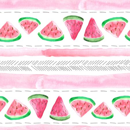 Seamless pattern with colorful isolated watercolor watermelon pieces in bright red and green colors. Hand painted exotic fruits. Summer fresh background perfect for fabric textile Banco de Imagens