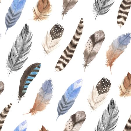 Seamless pattern with isolated watercolor feathers in gray, blue and brown colors. Hand painted bird feathers backdrop. Tribal boho aztec background perfect for fabric textile and wrapping paper